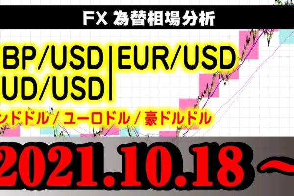 FX為替【GBP(ポンドドル)EUR(ユーロドル)AUD(豪ドルドル)】2021.10.18相場分析(倍速再生推奨)